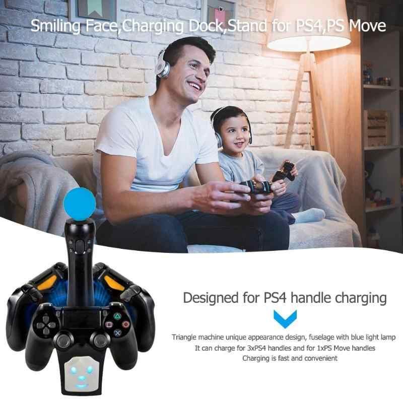 С рисунком смайлика зарядная док-станция для док-станции для Playstation 4 для PS4 для PS Move высококачественное зарядное устройство