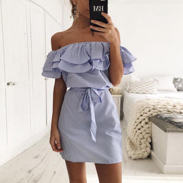 Off Shoulder Strapless Striped Ruffles Dress Women 2018 Summer Sundresses Beach Casual Shirt Short Mini Party Dresses Robe Femme 2