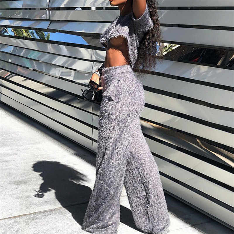 Grey Two Piece Set Women Tracksuit O Neck Short Sleeve Fluffy Faux Fur Crop  Top Wide 71a91ea50caf