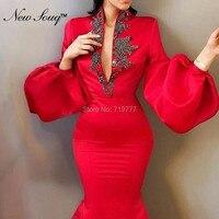 Арабский мусульманский Русалка Красный вечернее платье Турецкий Aibye глубоким v образным вырезом платья для выпускного вечера в африканском