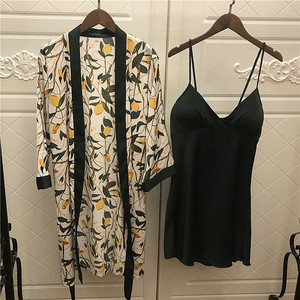 Image 2 - 2019 Women Satin Sleepwear Robe Sexy Silk Robe Gown Set Sleep Lounge Indoor Clothing Ladies Nightwear Nightdress With Chest Pads