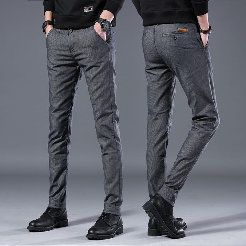 Men s Business Casual Pants Trend Designer Korean Style Slim Male Trousers Classic Plaid High Quality Innrech Market.com