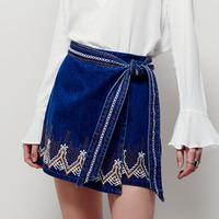 2019 Streetwear Jeans Miniskirt Bohemian Short Mini Skirt Vintage Boho Embroidered Women Sexy Clothes Denim Skirts Womens C41