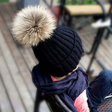 цены на 2018 Winter Pompom Hats For Kids Knitted Beanies Hats For Girls Cap Real Fur Big Ball Children Winter Hat Baby Solid Black Color  в интернет-магазинах