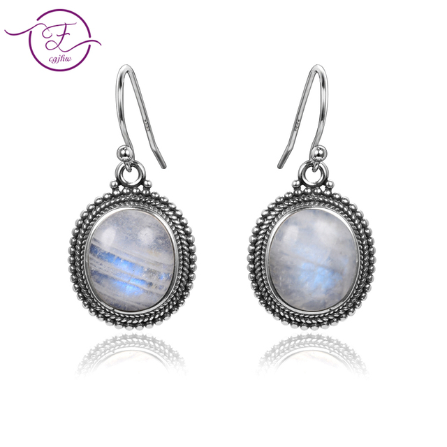 Jewelry 925 sterling silver pendant earrings 10X12 large oval natural moonstone women fashion wedding party wholesale