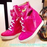 Ярко розовый Лакированная кожа ремни Женские повседневные ботинки на шнурках смешанные цвета хаки замшевые женский Вулканизация обувь мод