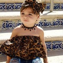 PUDCOCO Cute Kids Baby Girls Outfits Clothes Halter Leopard T-shirt Tops+Pants 2PCS Set