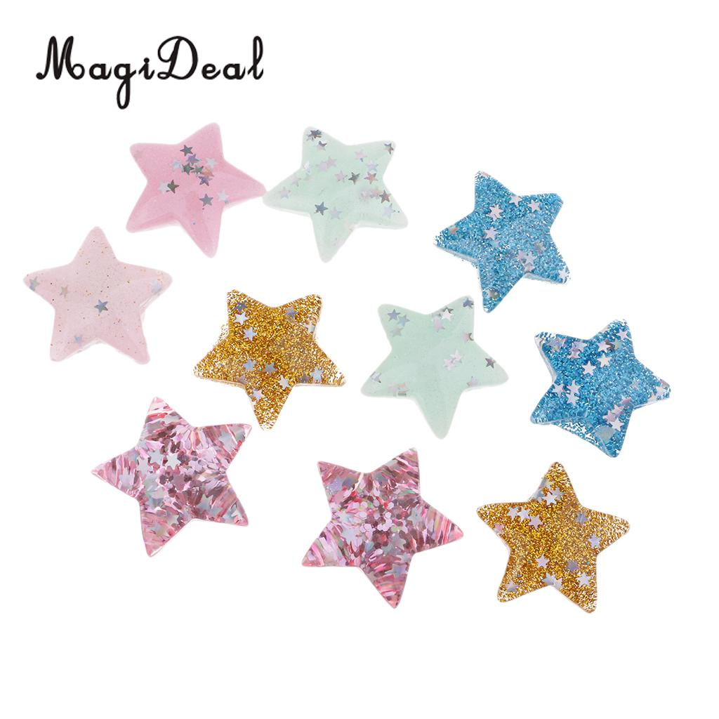 10Pcs Resin Crafts For DIY Decoration Flat Back Resin Cabochons Glitter Star With Pastel Confetti for Phone Case Jewelry Decor
