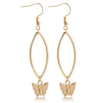 Hoop & Butterfly Drop Earrings