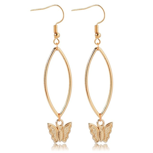 Hoop & Butterfly Drop Earrings