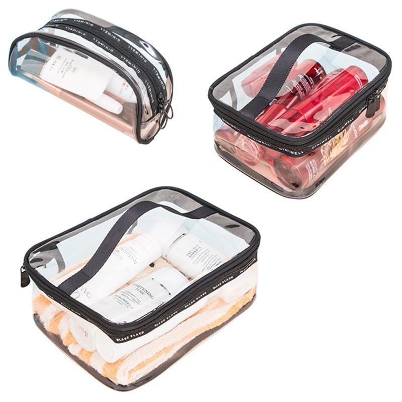 Waterproof Transparent PVC Bath Cosmetic Bag neutral Make Up Case Travel Zipper