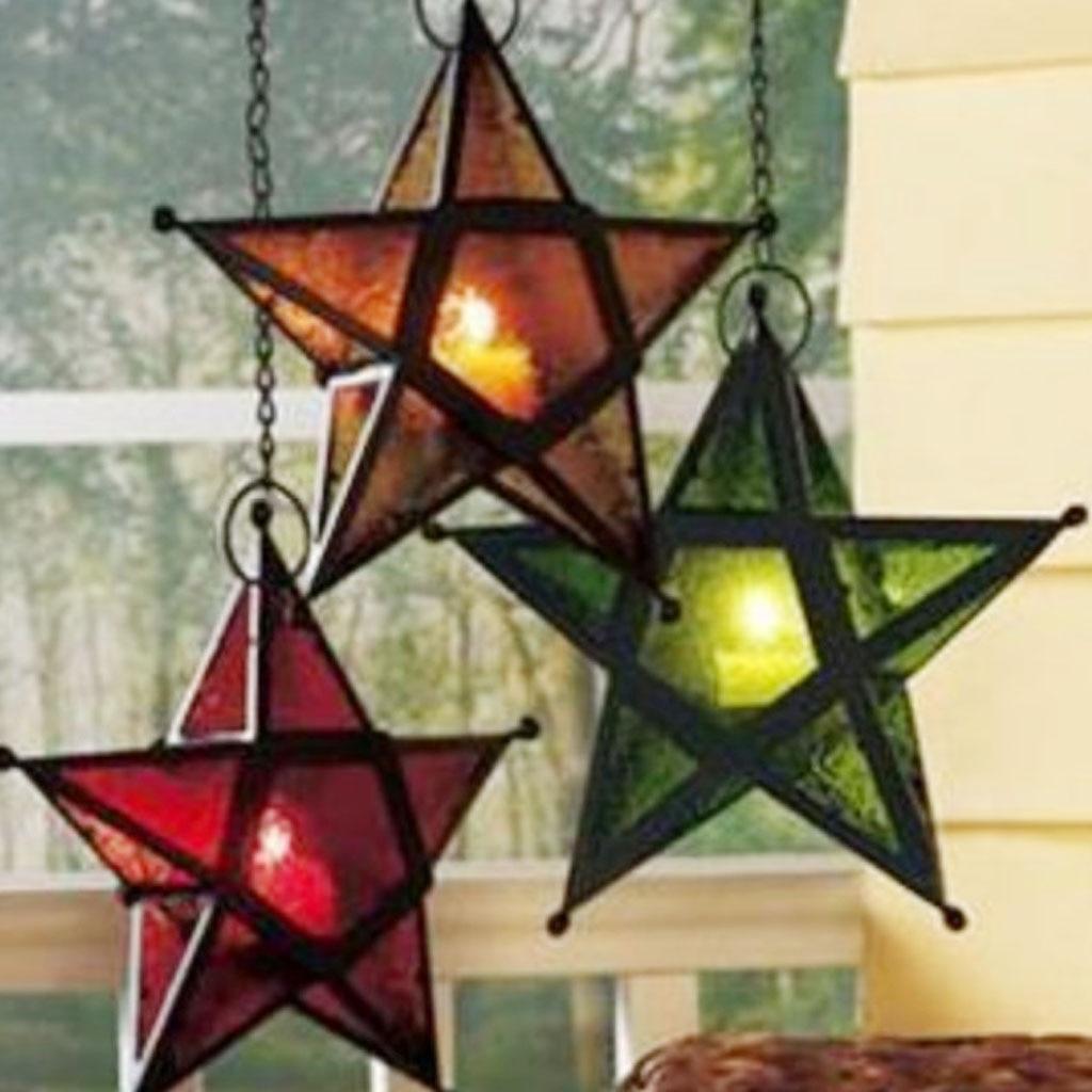 Star Hanging Candlestick Metallic Candle Light Lantern Holder-Green