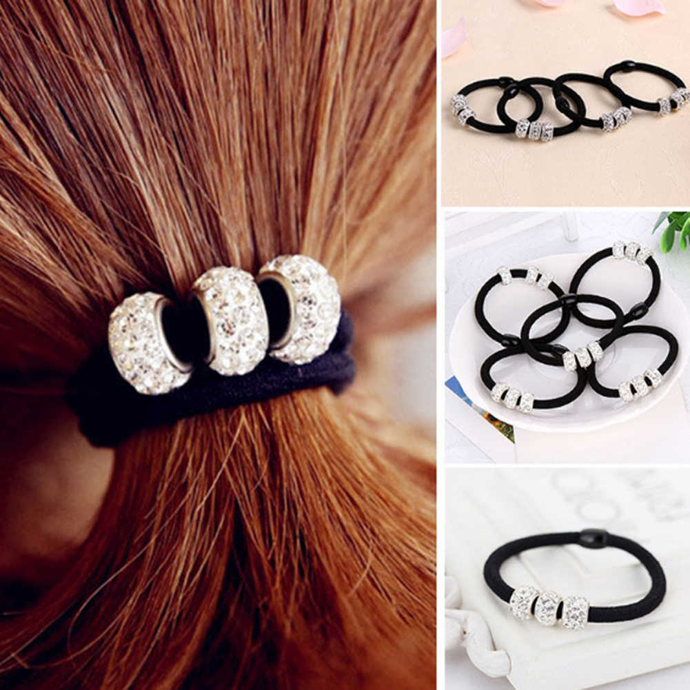Korean Three Full Crystal Hair Accessories For Women Black Elastic Hair Rubber Bands Girls Lovely Hair Ropes Ponytail Holder Tie