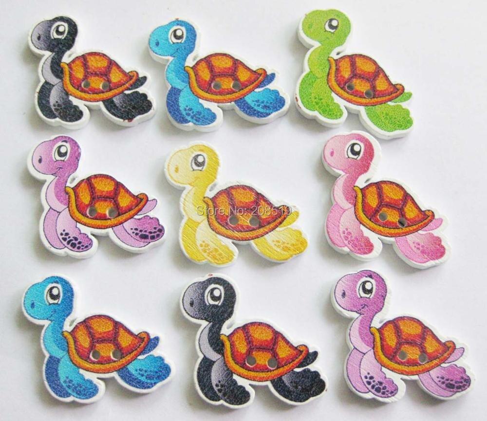 WBNLWL Tortoise shape fashion buttons mix 150pcs flatback wood button sewing accessories