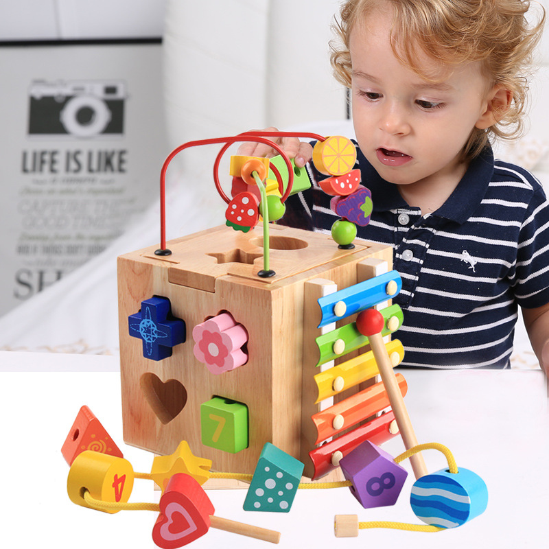 Forme géométrique en bois bâtiment couleur plaisir cognitif autour des blocs de perles horloge numérique multi-fonction Intelligence Box
