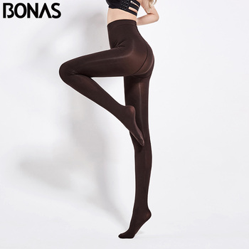 BONAS 80D Women Spring Tights High Elastic Solid  Autumn Pantyhose Women Sexy Slim Legins Female Tights Plus Size collant Femme