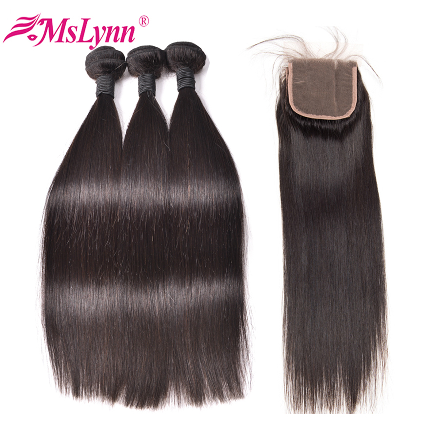 Straight Hair Bundles With Closure Peruvian Hair Bundles With Closure 100 Human Hair Bundles With Closure