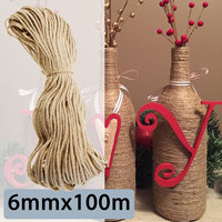 KIWARM Durable Sisal Ropes Jute Twine Rope Natural Hemp Cord Decor Cat Pet Scratching Home Art Decor 6mmx100m