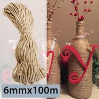 KIWARM Durable Sisal Ropes Jute Twine Rope Natural Hemp Cord Decor Cat Pet Scratching Home Art Decor 6mmx100m