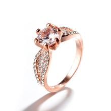 NoEnName Ladys Classic Diamond Rings Wedding Brand Crystal 14K Rose Gold Amethyst Bizuteria Jewelry for Women Diamantes
