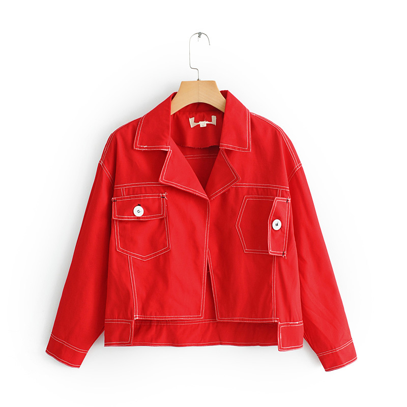 2019 Spring Autumn Women Denim   Basic     Jacket   Summer Vintage Cropped Short Denim Coat Long-Sleeve loose Red Jeans tops DH010