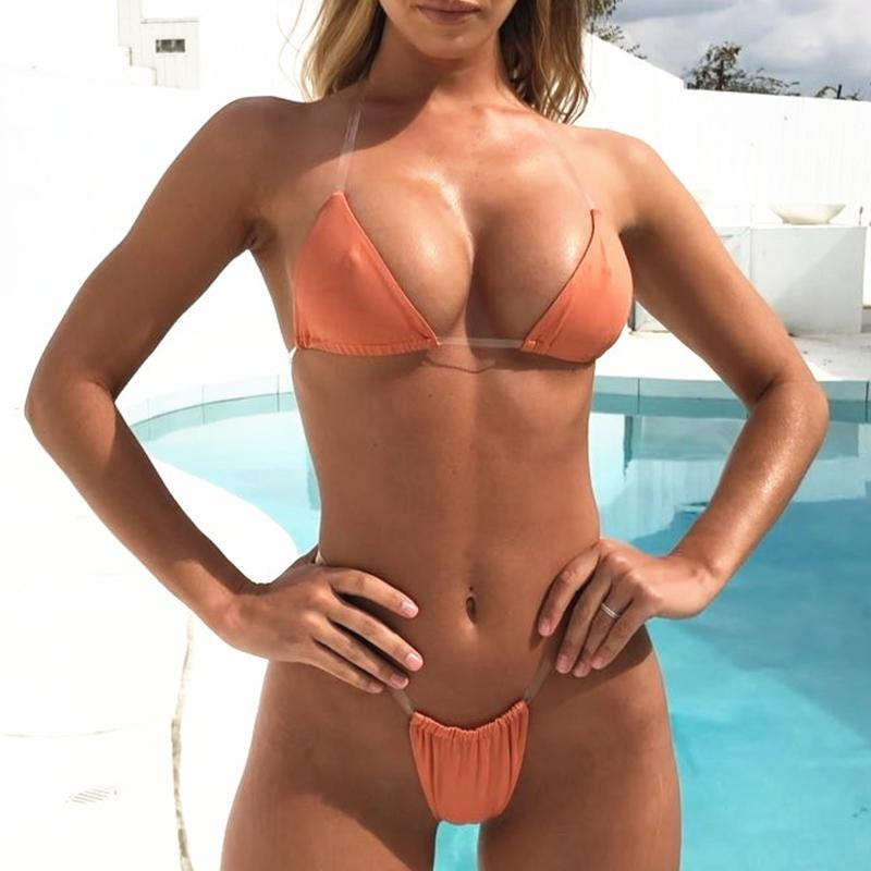 Turmeric Sexy triangle transparent bikini 2019 micro Push up swimsuit female biquini Summer swimwear women bathing