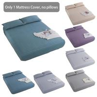 100% Cotton Bed Sheets Solid Color Fitted Sheet Elastic Mattress Cover Bed Linen Bedspread Washable Comfortable Home Bed Sheets