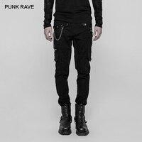 Панк рейв для мужчин тяжелый панк металла заклёпки длинные мотобрюки украшения цепи повседневное хип хоп черный карандаш брюки д