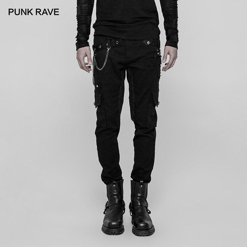PUNK RAVE Men's Heavy Punk Metal rivets Long Trousers chain decoration Casual Hip Hop Black Pencil Men Pants Streetwear