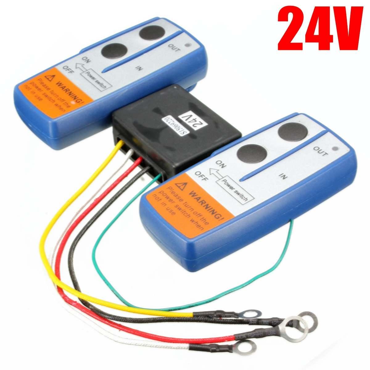 24 V 98 Voeten/30 M Universele Auto Wireless Winch Crane Afstandsbediening Controller Met Twin Handset Afstandsbediening Bereik Blauwe Kleur Glanzend