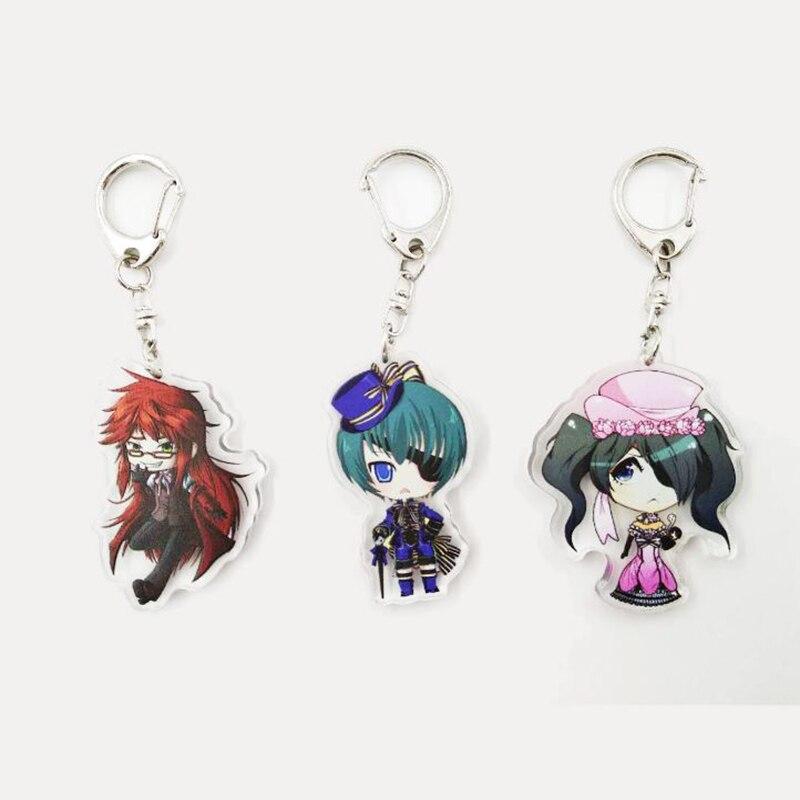 1 Pc Cute Black Butler Keychain Kuroshitsuji Keyring Anime Key Chain Cosplay Figure Toy