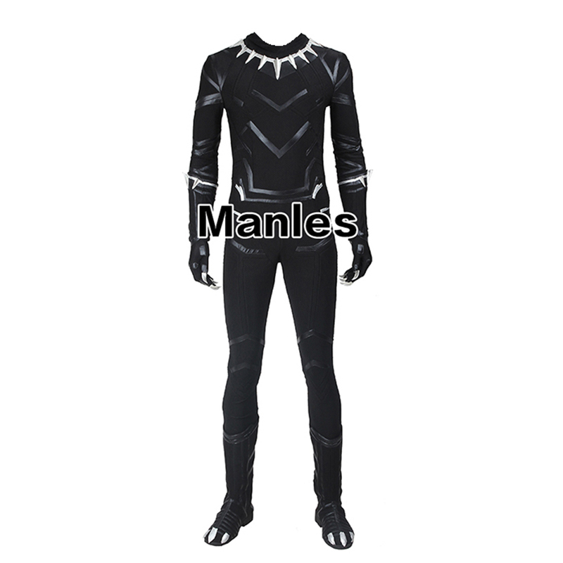 In Stock Captain America Civil War Black Panther Costume Cosplay Adult Men Full Set Without Boots
