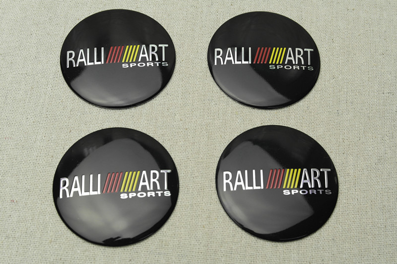 4 pz Per Il Nero Ralli Art In Lega di Alluminio Auto del Centro di Rotella Caps Sticker Emblemi