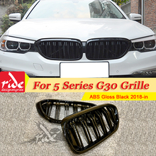 1 Pair G30 Front Grille ABS Gloss Black For M5 Grills Bumper M-Style 520i 530i 540i 2-slat Kidney 2018-in