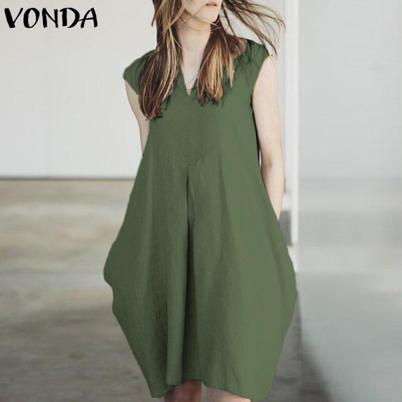 VONDA Women Sexy Mini Dresses 2018 Summer Ladies Casual Loose V Neck Short Sleeve Elegant Pockets Solid Vestidos Plus Size 5XL