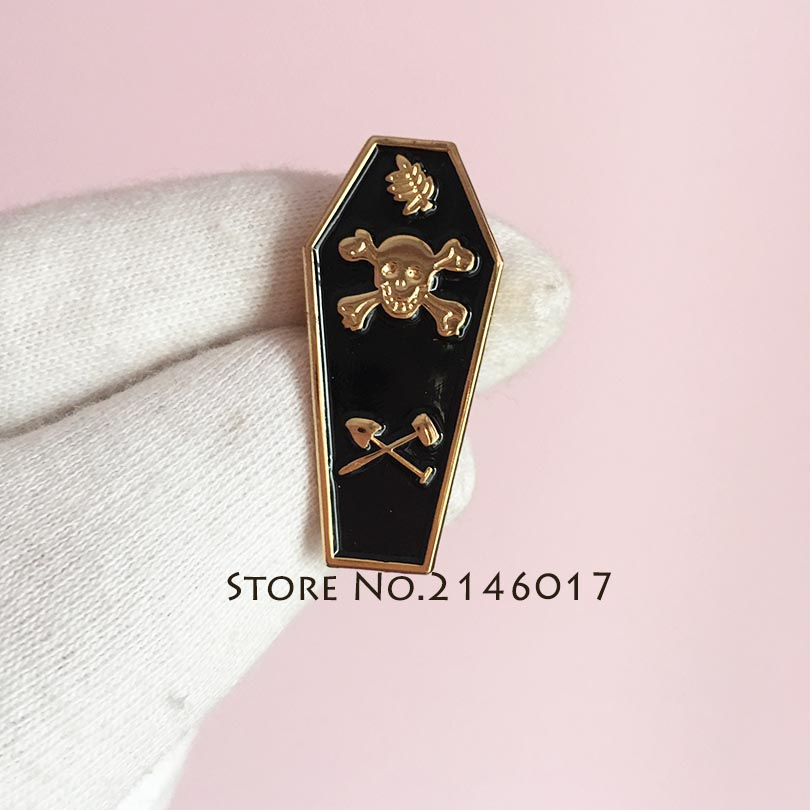 50pcs Freemason Skull Leaf Acacia Sprig Lapel Pins Master Mason Tracing Board Enamel Badge Masonic Coffin