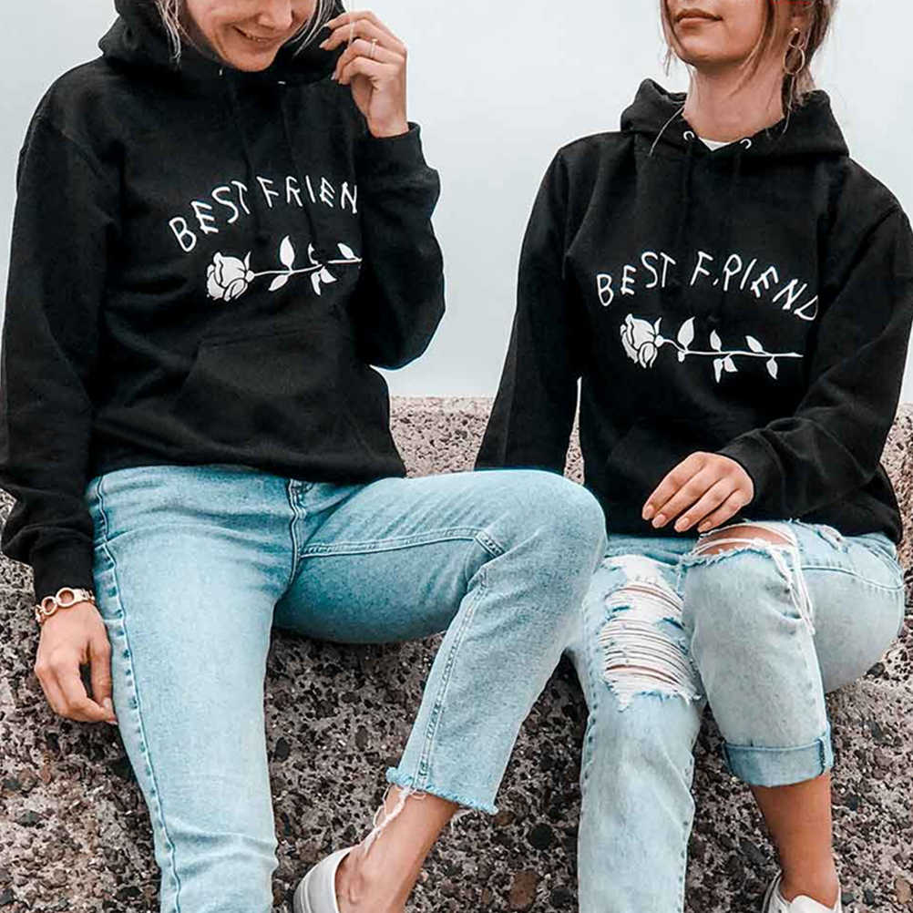 Thick Rose Best Friend Letter Printing Hoodies Sweatshirts Gift For Friend  Couple Women Pullover Harajuku 2019 47e8edc90