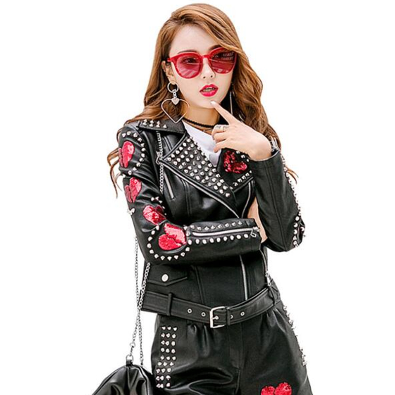 Jaqueta De Couro Feminino 2018 Autumn New Arrival   Leather   Jacket Female Sequins Patch Rivet Decoration Slim Belt PU   Leather   Coat