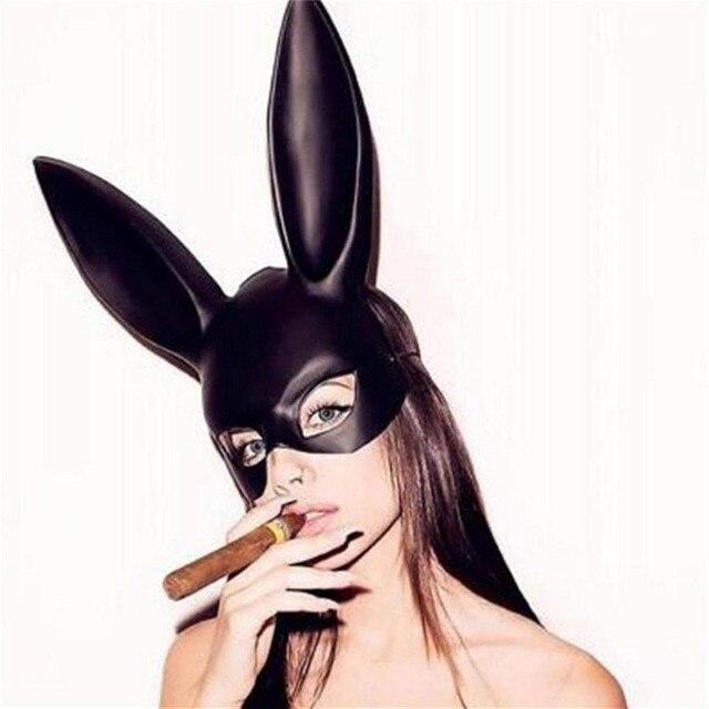 Longas Orelhas de Coelho Coelho Máscara do Partido do Traje Cosplay Halloween Masquerade Traje Cosplay Do Vestido Extravagante Das Mulheres Laides Decoração Sexy