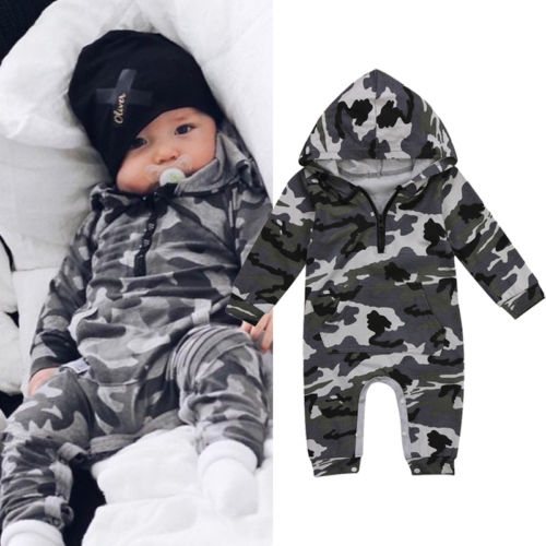 Infant Baby Boy Hooded Camouflage   Romper   Newborn Baby Camo Long Sleeve   Romper   Warm Spring Autumn Jumpsuit Outfit Boys 0-24M