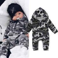 Infantil do bebê menino com capuz camuflagem macacão recém-nascido do bebê camo manga longa macacão quente primavera outono macacão roupa meninos 0-24 m