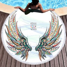Bohemian Round Beach Towel Wing Eagle Boho Decor Microfiber Circle Tassels Summer Yoga Mat Large Bath Toallas For Adults