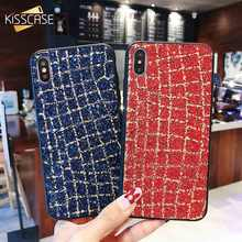KISSCASE Bling Grid Case For iPhone 7 8 6 6s Plus Phone X XS MAX XR Fundas 5 Shockproof Back Cover