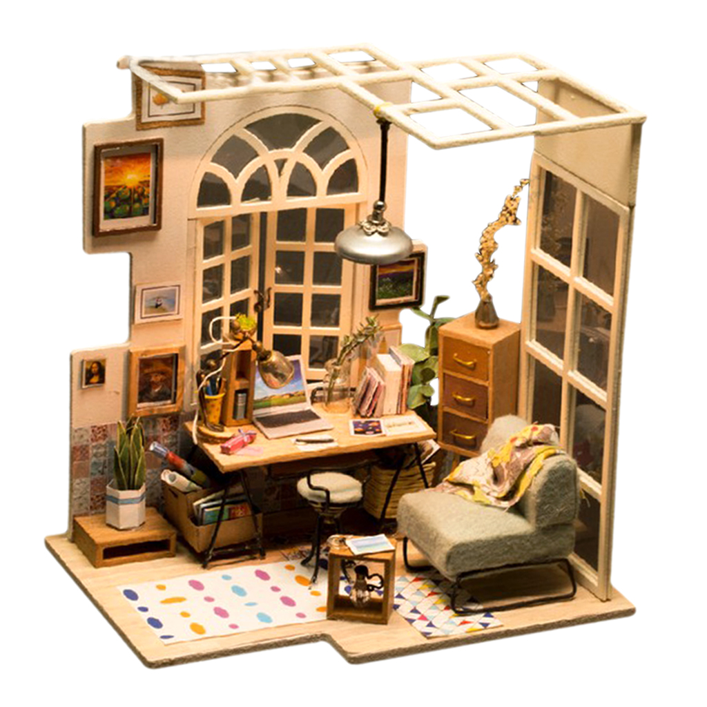 1:24 Dollhouse Kit Miniature DIY Bookstore Reading House Kits Best Birthday Gifts for Teens Education Toys cool birthday presents for teens