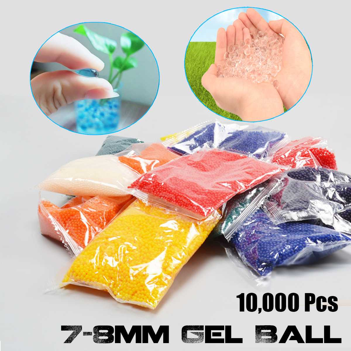 10000Pcs 7-8 Mm  Crystal Bullets Water Ammo Beads For Gel Ball Guns Blasters Toy Water Guns Ammo Shotting Bullets
