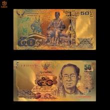 Billete de oro tailandés colorido de 24k, 50 Baht, papel de aluminio dorado, dinero de doble cara estampada, colección de papel moneda y regalos de vacaciones