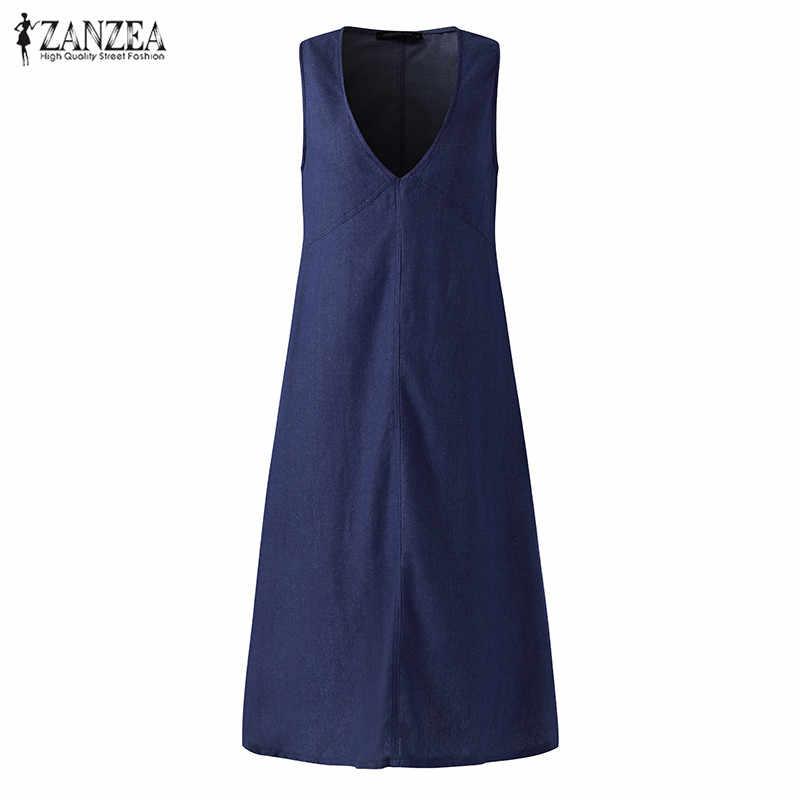 Женский джинсовый сарафан 2019 ZANZEA женское летнее джинсовое платье с v-образным вырезом женское платье без рукавов на бретелях Vestidos Повседневное платье Femme негабаритных