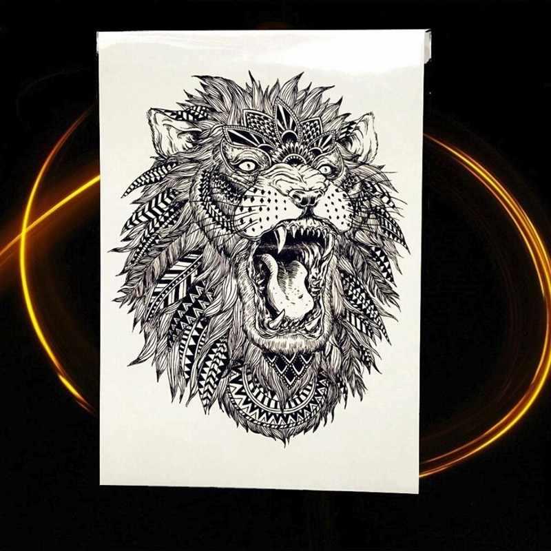 אפריקה סרנגטי האריה זמני קעקוע הודי שבטי סגיב האריה לוחם עמיד למים פלאש קעקוע מדבקה שחור קעקוע גברים נשים