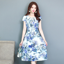 Women's Dresses 2019 New Summer style Middle-aged Fashion Print Loose sundress Casual Short Sleeve Plus Size Long Dress Vestidos