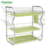 Tableware Storage Rack Stainless Carbon Steel Three Layers Cup Holder for Kitchen